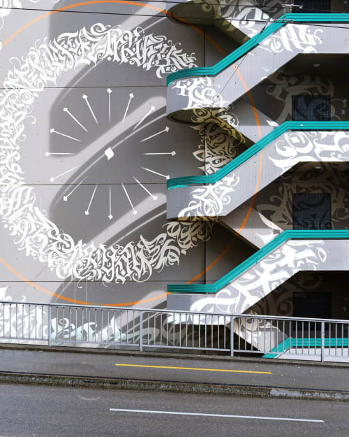 Murals by Leo Shallat seen at Seattle, Seattle - Calligram Concept Mural