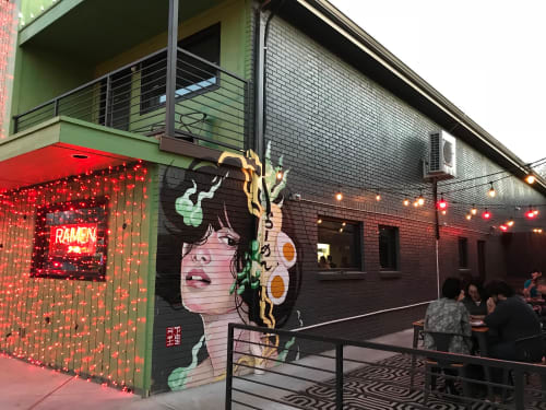 Japanese Ramen Mural: Exterior Brick | Murals by JUURI