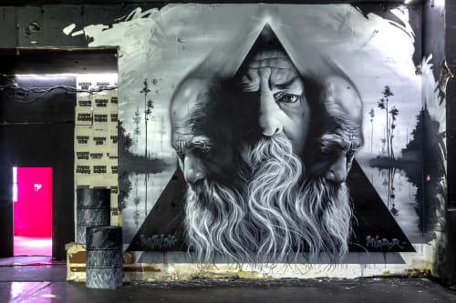 Street Murals by AERO seen at 6th arrondissement of Lyon, Lyon - Nostalgik Mirror
