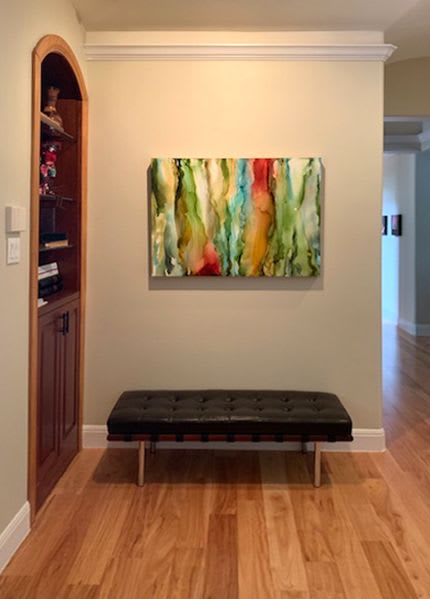"Paintings by Julie Pelaez Studios seen at Private Residence, Austin - ""Abundance"" Commission"