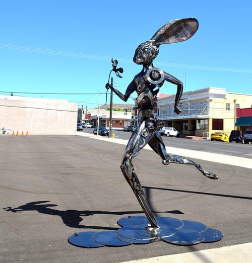 Public Sculptures by Donald Gialanella seen at Arizona 66, Kingman - Running Hare