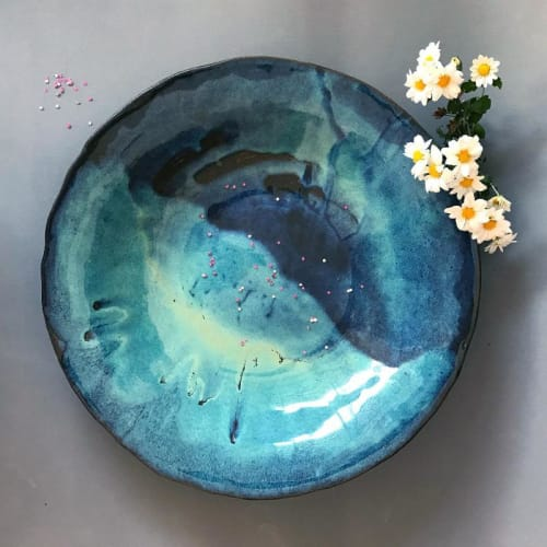 Tableware by ShellyClayspot seen at Creator's Studio, Kiryat Gat - Blue Pottery Bowl