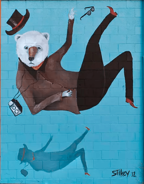 Street Murals by Mike Stilkey seen at 1186 South La Brea Ave, Los Angeles - La Brea Mural