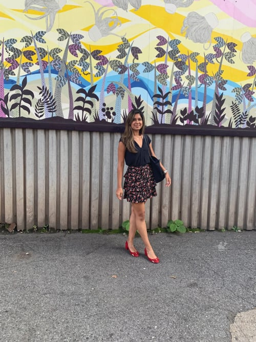 Murals by Emily Caisip seen at Front Street, Brooklyn - Moment of Gratitude