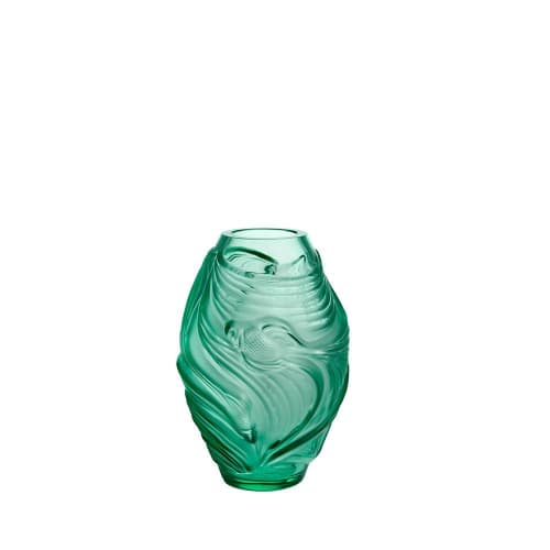 Vases & Vessels by Lalique seen at LALIQUE - Rue Royale, Paris - Poissons Combattants Small Vase - Mint Green Crystal