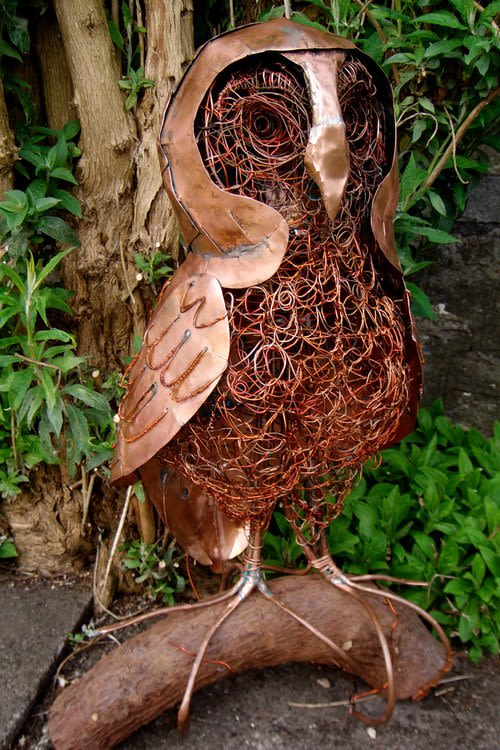 Public Sculptures by Fiona Campbell seen at Rackenford - Owl