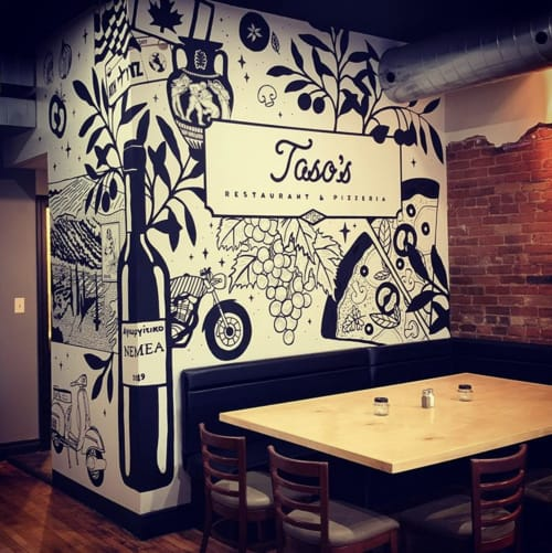 Murals by Leslie Phelan Mural Art + Design seen at Taso's Restaurant and Pizzeria, Peterborough - Restaurant Mural Art