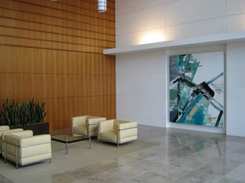 Paintings by Chris Trueman seen at Moffett Towers, Sunnyvale - Large Green and White Abstract Painting