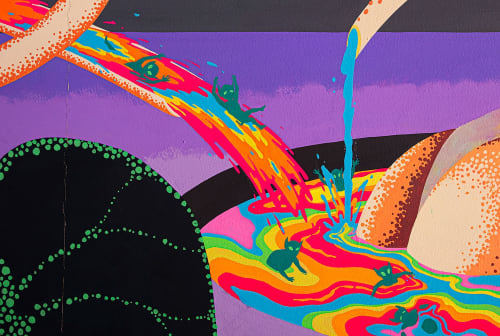 Murals by Yuki Nishimura seen at Tokyo - KA International, Space Garden Mural Project