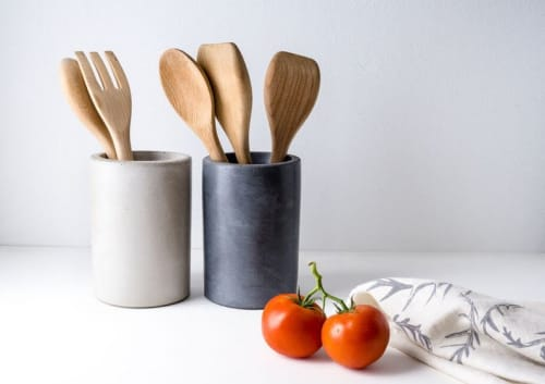 Vases & Vessels by Port Living Co. Pure Concrete Designs seen at Fare Isle's (Kaity's) Kitchen, Nantucket - Concrete Utensil Holder