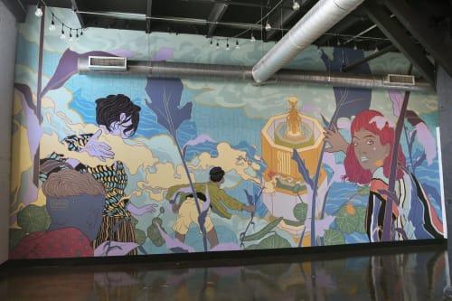 Murals by DORAS seen at Brasserie Silo, Montréal - Silo