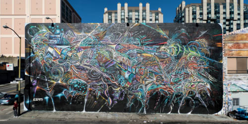 "Street Murals by Max Ehrman (Eon75) seen at Mitchell Brothers O'Farrell Theatre, San Francisco - ""Archons Dream"""