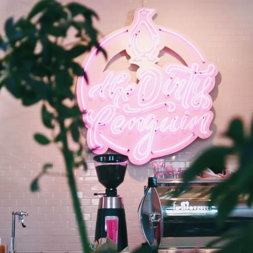 Signage by Lili Lakich seen at The Dirty Penguin Coffee Co., Chino Hills - Custom Neon Signage