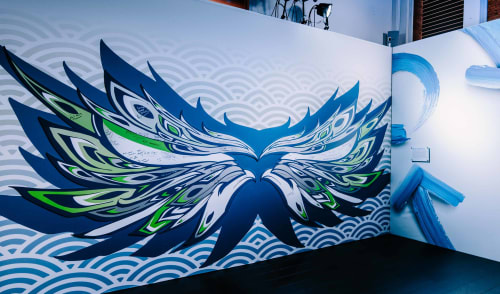 Murals by Leo Shallat seen at CenturyLink Field, Seattle - Wings of Their Own - Seattle Seahawks | Interior Mural Installation