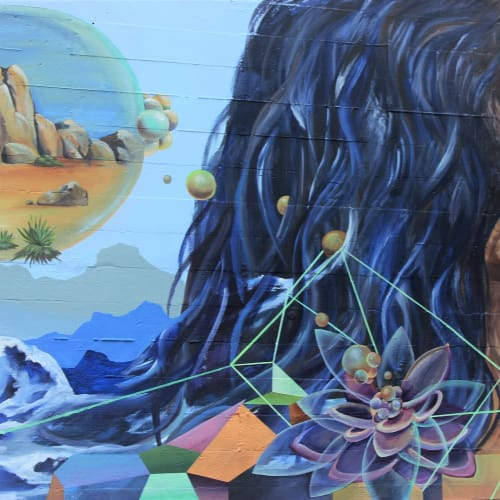 Street Murals by HUMAN SHAPED ANIMAL seen at Mandala Holistic Hair and Wellness Studio, Santa Cruz - Mandala Mural