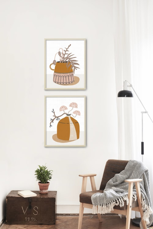 Paintings by Birdsong Prints seen at Private Residence - Wake Forest, NC, Wake Forest - Mid Century Modern Crockery Prints