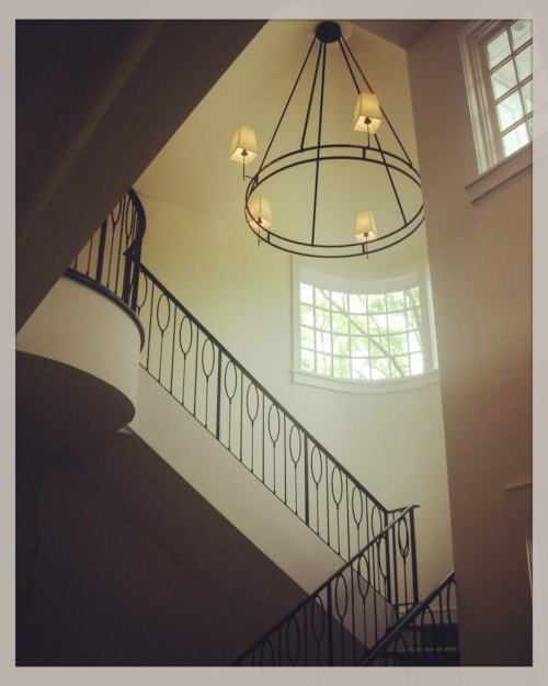 Hardware by Shelton Studios Inc seen at Private Residence, New York - Stair Railing and Chandelier