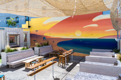 Murals by Maxwell McMaster seen at The Waterfront Venice, Los Angeles - The Waterfront Venice Mural