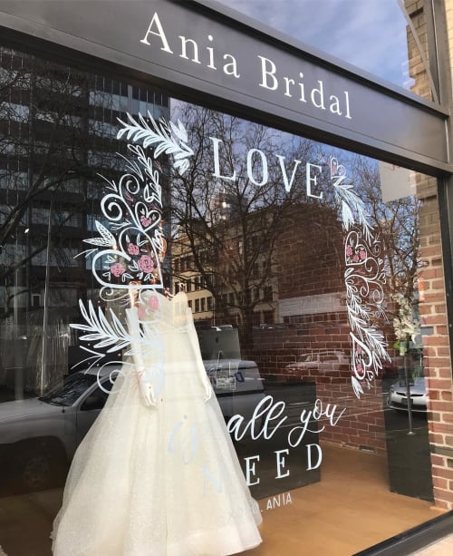 Signage by Letters & Dust seen at Ania Bridal, Portland - Window Decor