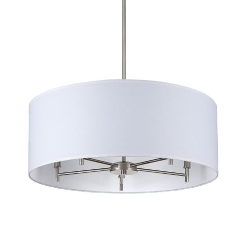 "Chandeliers by Lights Up seen at Haven Life, New York - ""Walker 5-Arm Chandelier Drum - Brushed Nickel"""