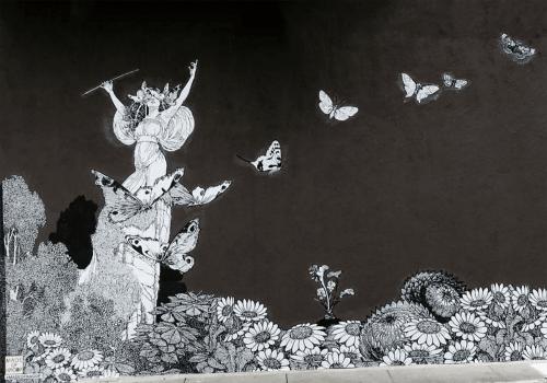 Murals by Made of Hagop seen at Gjelina, Los Angeles - Vespertine