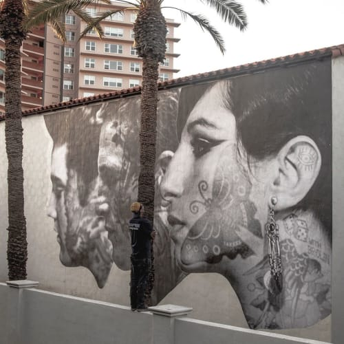 Street Murals by Cheyenne Randall aka INDIANGIVER seen at Heard Museum, Phoenix - Elvis Newman and Babs