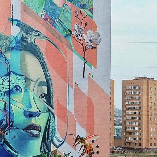 "Murals by Khodak Nikita seen at Shaymerden Qosshyghuly Street, Nur-Sultan - ""Human, Nature, City, Ozen, Stream"" mural"