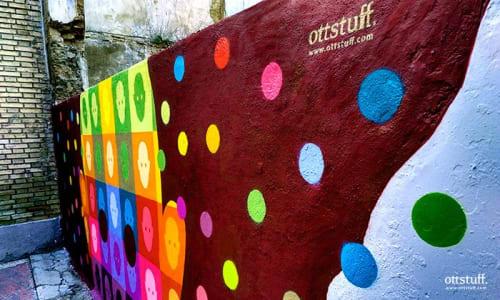 Street Murals by OTTSTUFF seen at Calle Navas de Tolosa, Azagra - Interculturality