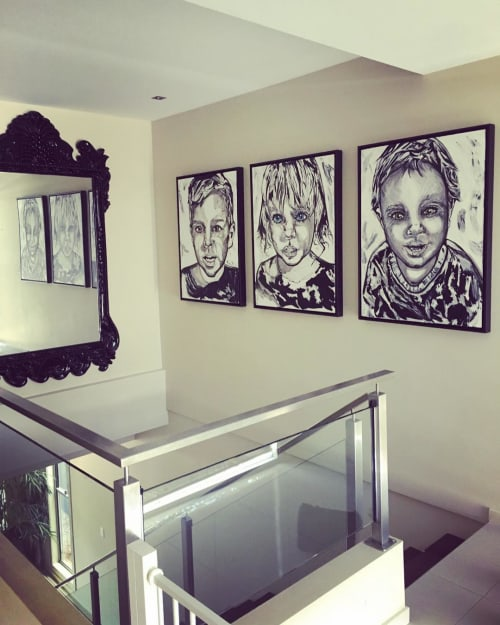 Paintings by Joy French seen at Private Residence, Brisbane - Children portraits