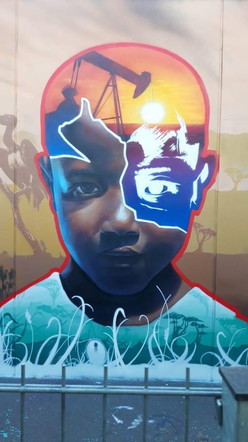 """Murals by MATE artist seen at Berlin, Berlin - """" Petroleum """""""