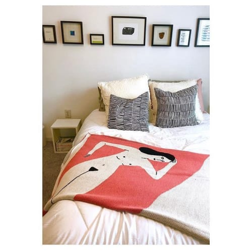 Linens & Bedding by Kaye Blegvad seen at Private Residence, New York - Coral Lounging Lady Blanket