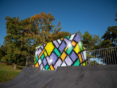 Murals by Krudspen seen at Hemel Hempstead Skate Park, Hemel Hempstead - ShapeSpen