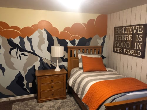 Murals by Jenny Handel Art seen at Private Residence, Salt Lake City - Vintage Wasatch Mountain Mural