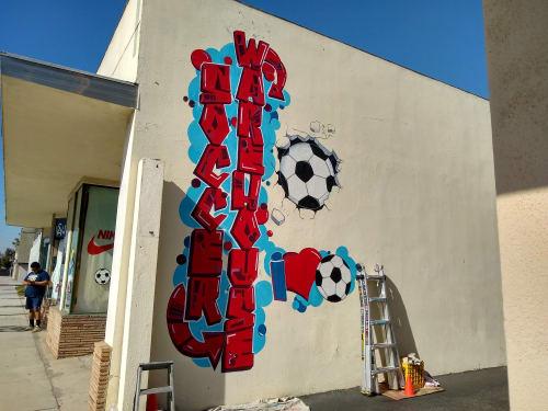 Street Murals by PixelDorian seen at 4128 Norse Way, Long Beach - Soccer Warehouse Mural