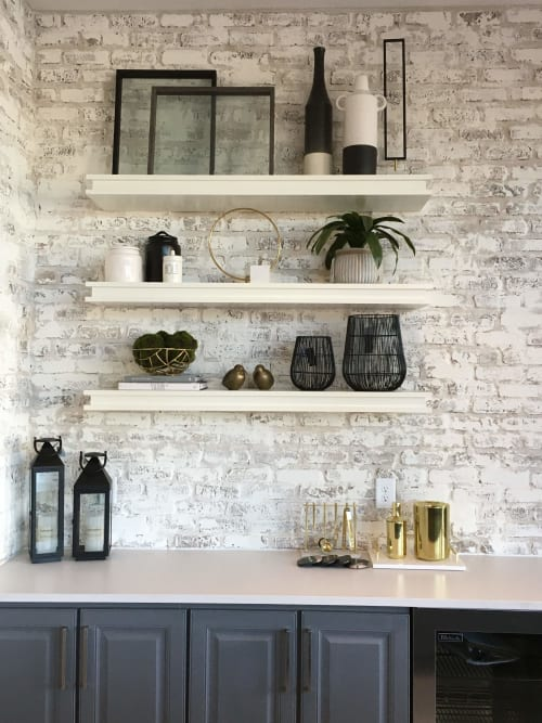 Wall Treatments by EMILY POPE HARRIS ART seen at Aldyn by Pulte Homes, Woodstock - Whitewashed Brick Accent Wall