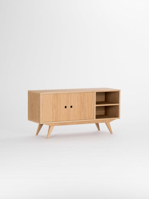 Beds & Accessories by Mo Woodwork seen at Private Residence, Stalowa Wola - Record player stand, vinyl storage, tv stand, media cabinet, mid-century