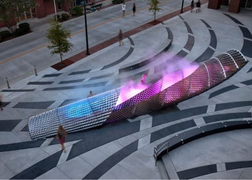 Public Sculptures by Amuneal seen at 140 W Franklin St, Chapel Hill - Exhale Sculptural Fog Fountain