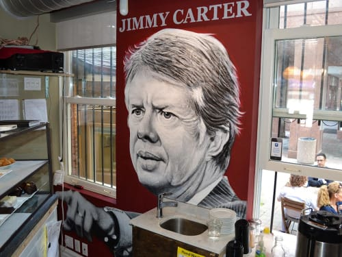Murals by Christiano De Arte seen at Jimmy's Coffee, Toronto - Jimmy Carter