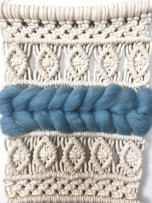 Macrame Wall Hanging by Cosmic String Fiber Art seen at Private Residence, Saint Charles - White Macramé Wall Hanging with Chunky Light Blue Wool - Macraweave Wall Décor with Blue Detail