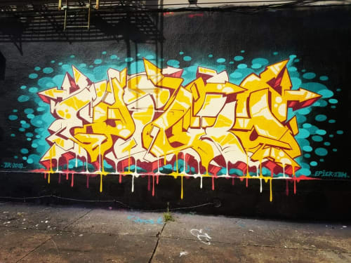 Murals by Epick One seen at Low Brow Artique, Brooklyn - Graffiti Mural
