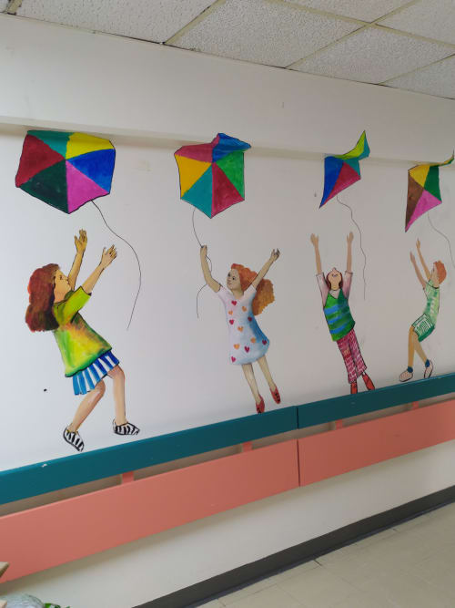 Murals by Tania Christoforatou seen at University General Hospital of Heraklion - Let's go fly a kite