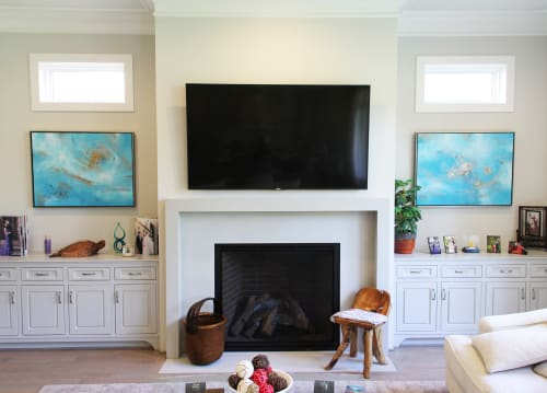 Paintings by Cory Webb Art seen at Private Residence, Houston - Cerulean Bronze I & II