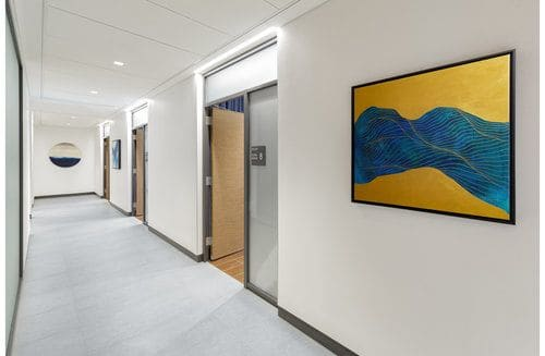 Paintings by Tracie Cheng seen at The Health Center at Hudson Yards, New York - To Spill Over
