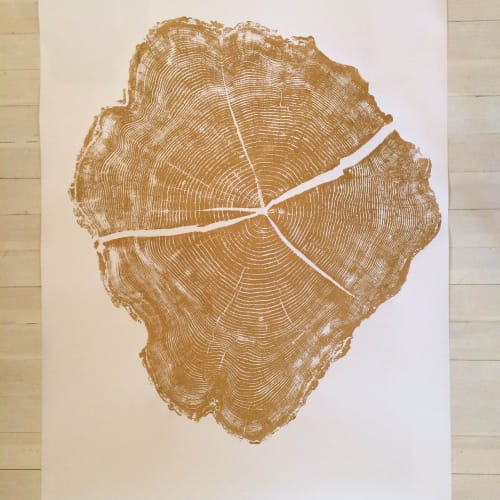 Gold Tree Ring Print Locust Tree - 36x48 inches | Art & Wall Decor by Erik Linton
