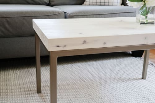 Tables by Hazel Oak Farms seen at Creator's Studio, Homestead - Modern White Maple Coffee Table with Gold Metal Base
