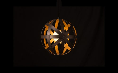 Pendants by Propellor Studio seen at Private Residence, Calgary - Meridian Pendants in Black and Gold