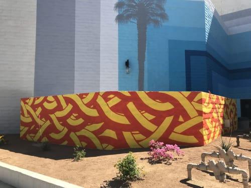 Murals by MOYA seen at Westfield Palm Desert, Palm Desert - m MOYA pattern
