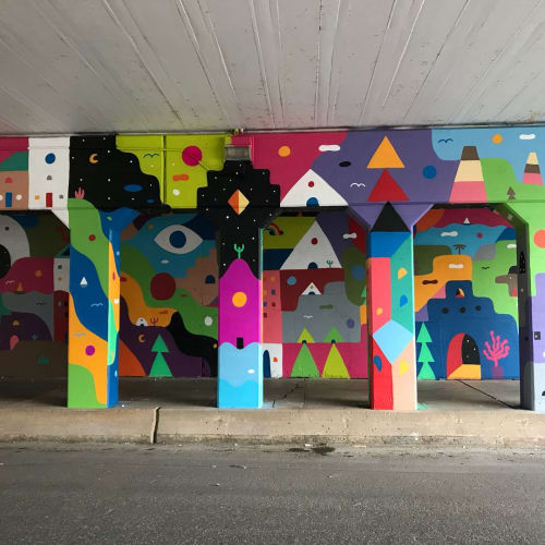 Street Murals by Kristopher Kanaly seen at Main Street, Oklahoma City - Abstract Passages