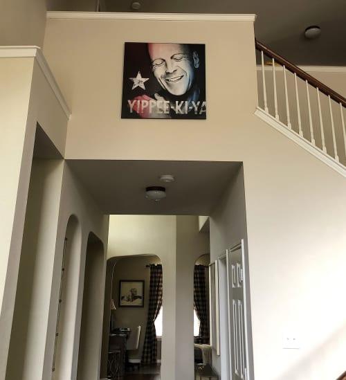 "Paintings by Elliott Mattice Art & Design seen at Private Residence - ""Yippee-Ki-Yay"" Bruce Willis pop art portrait print on canvas."