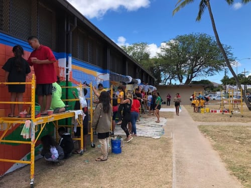 "Murals by Mele Murals seen at Kalanianaʻole Beach Park, Waianae - ""Nanākuli Ea"""